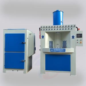 Continuous automatic turntable sandblasting machine